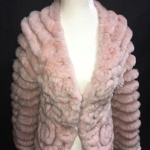 BCBG MAXAZRIA M Pale Pink 100% Rabbit Fur Sweater